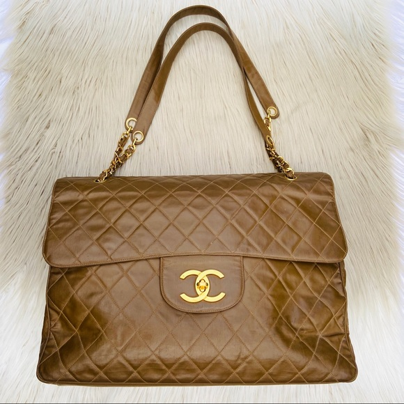 CHANEL Handbags - 1993 CHANEL XXL QUILTED HUGE MAXI FLAP BAG BROWN